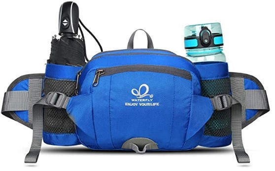 WATERFLY Fanny Pack with Water Bottle Holder Hiking Waist Packs